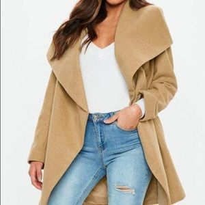 Missguided Camel Waterfall Coat